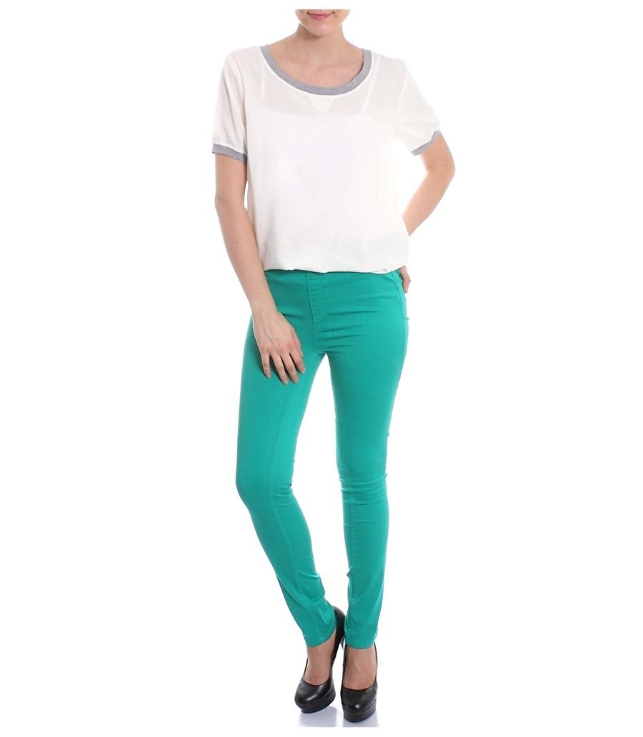 M Yeşil Asymmetry Pantolon Kadın Giyim