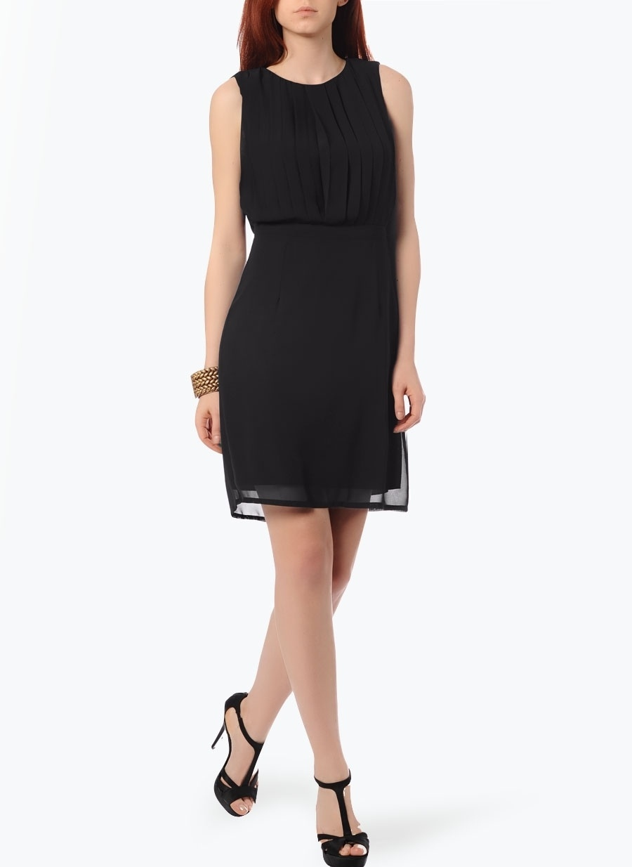 38 Siyah Cotton Bar Kolsuz Şifon Elbise Kadın Giyim