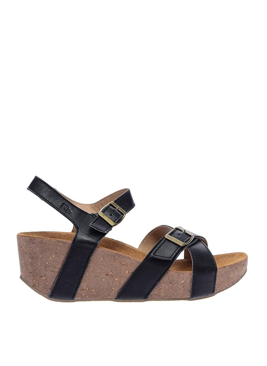 38 Siyah Lumberjack Dolgu Topuklu Sandalet Ayakkabı Çanta Kadın Terlik