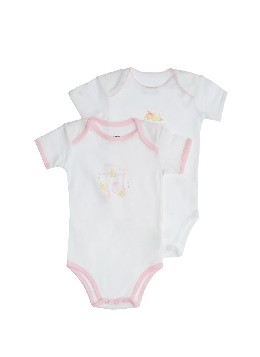 6 Ay unisex Pembe Prenatal 2\'li Body Çocuk Bebek Giyim