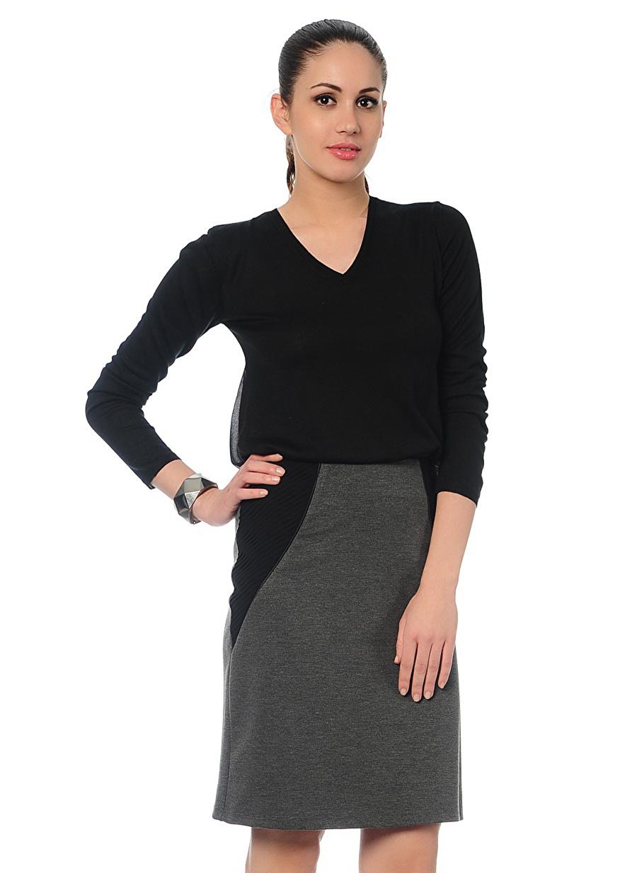 38 Antrasit Cotton Bar Etek Kadın Giyim