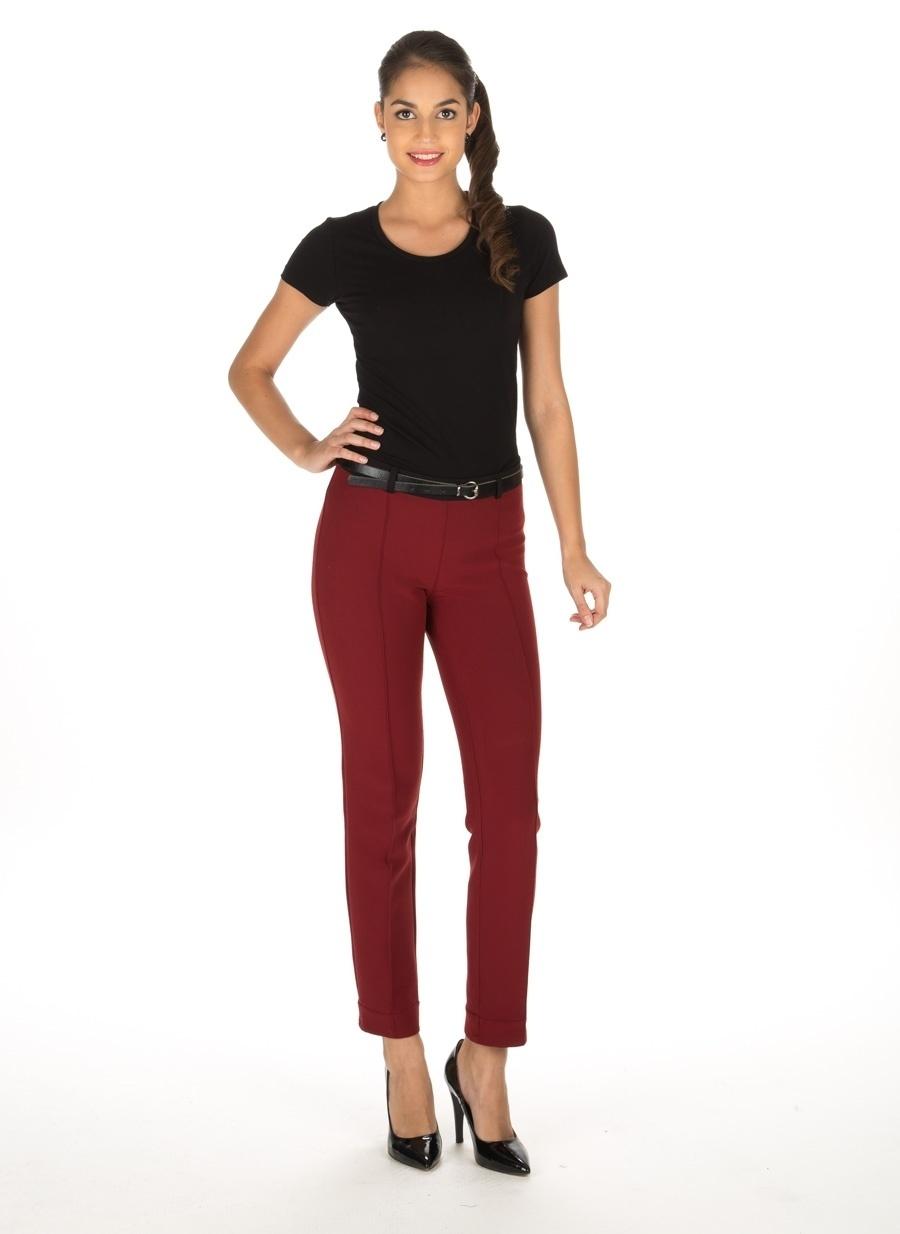 38 Şarap Limon Bordo Pantolon Kadın Giyim