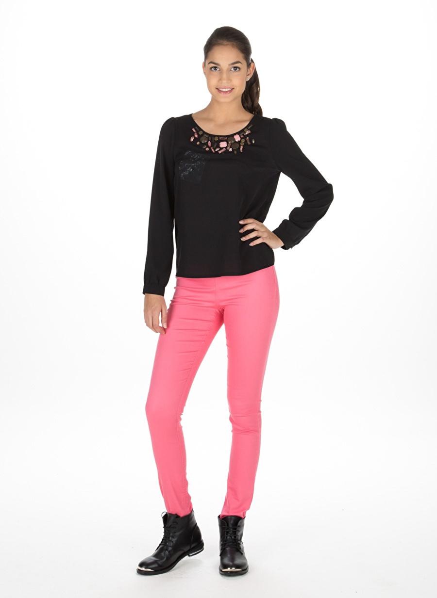M Siyah Limon Bluz Kadın Giyim Gömlek