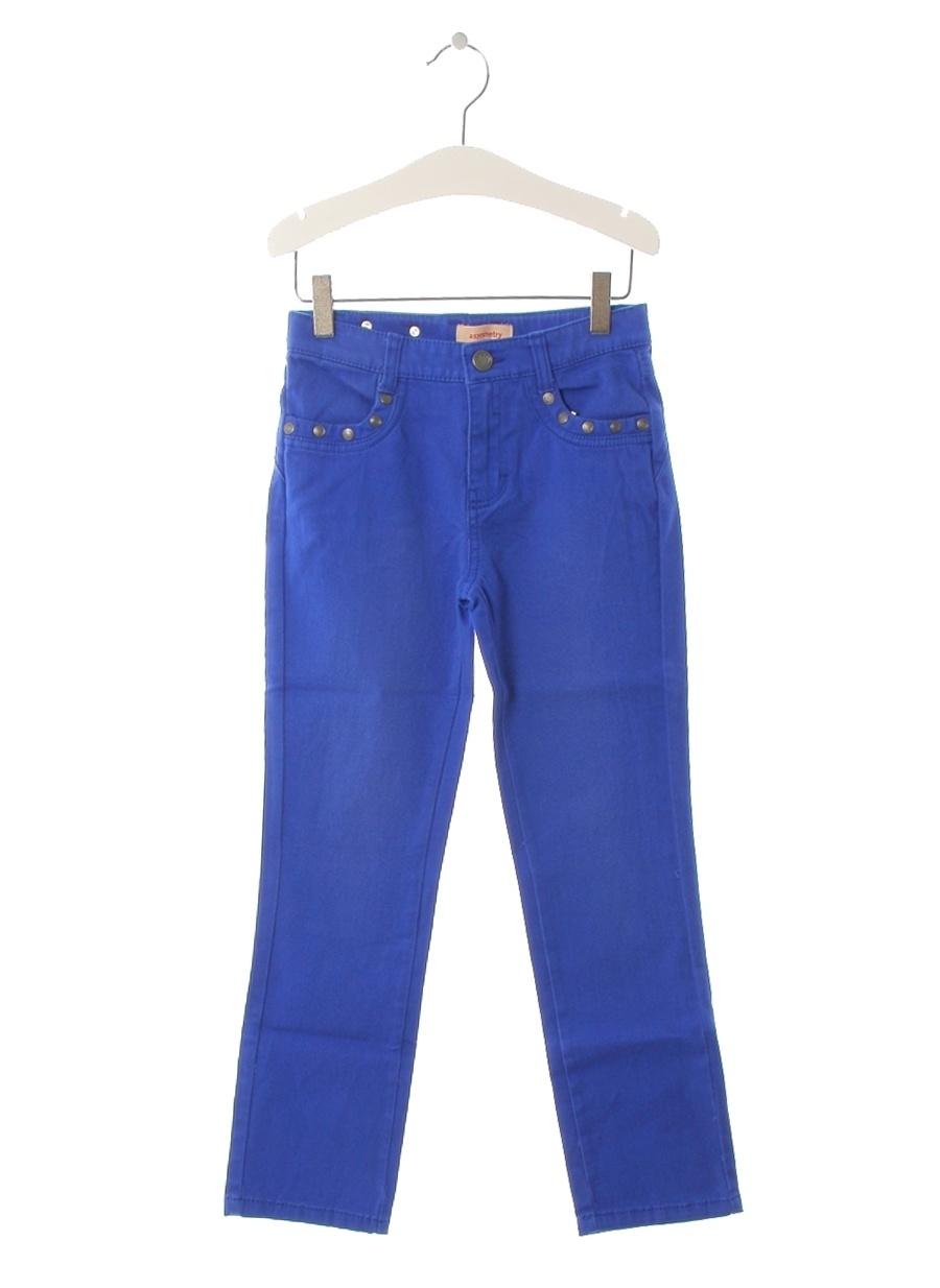 8 Yaş Kadın Saks Asymmetry Pantolon Çocuk Giyim Tayt