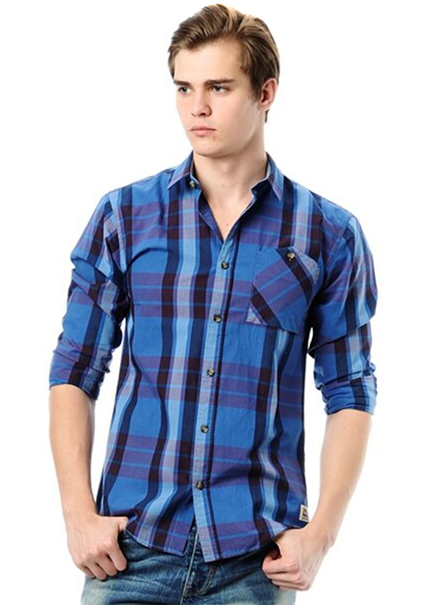 S Açık Mavi Jack amp; Jones & Ekoseli Gömlek Erkek Giyim