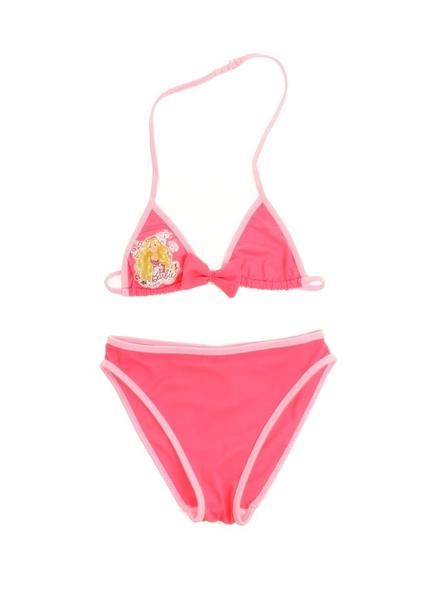 10 Yaş Kadın Pembe Barbie Karakter Baskılı Çocuk Bikini Takım Plaj Giyim