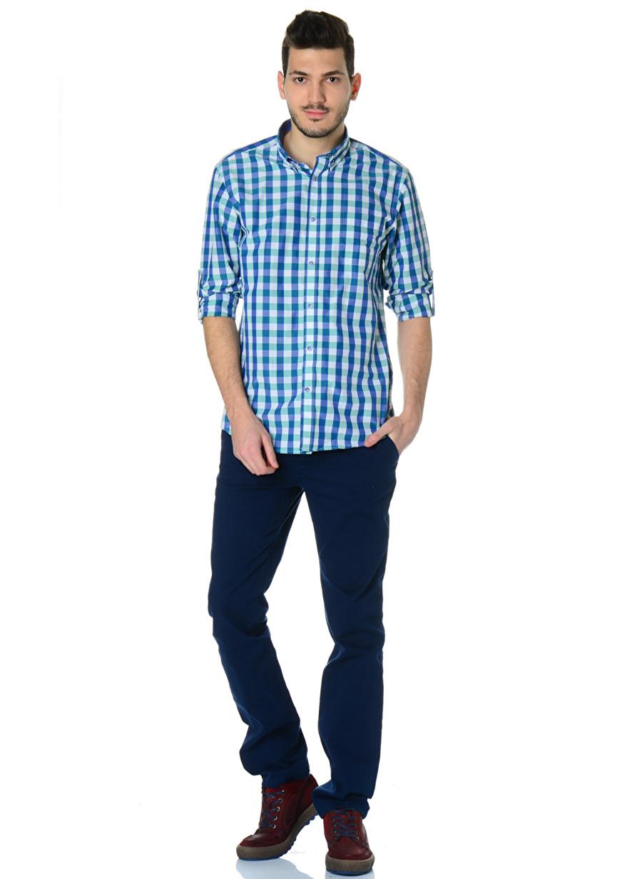 M Turkuaz - Gri Cotton Bar Mavi-Yeşil Gömlek Erkek Giyim