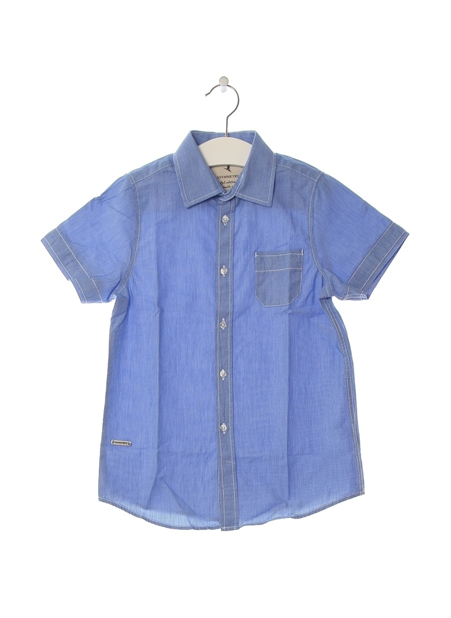 8 Yaş Erkek Mavi - Buz Asymmetry Gömlek Çocuk Giyim
