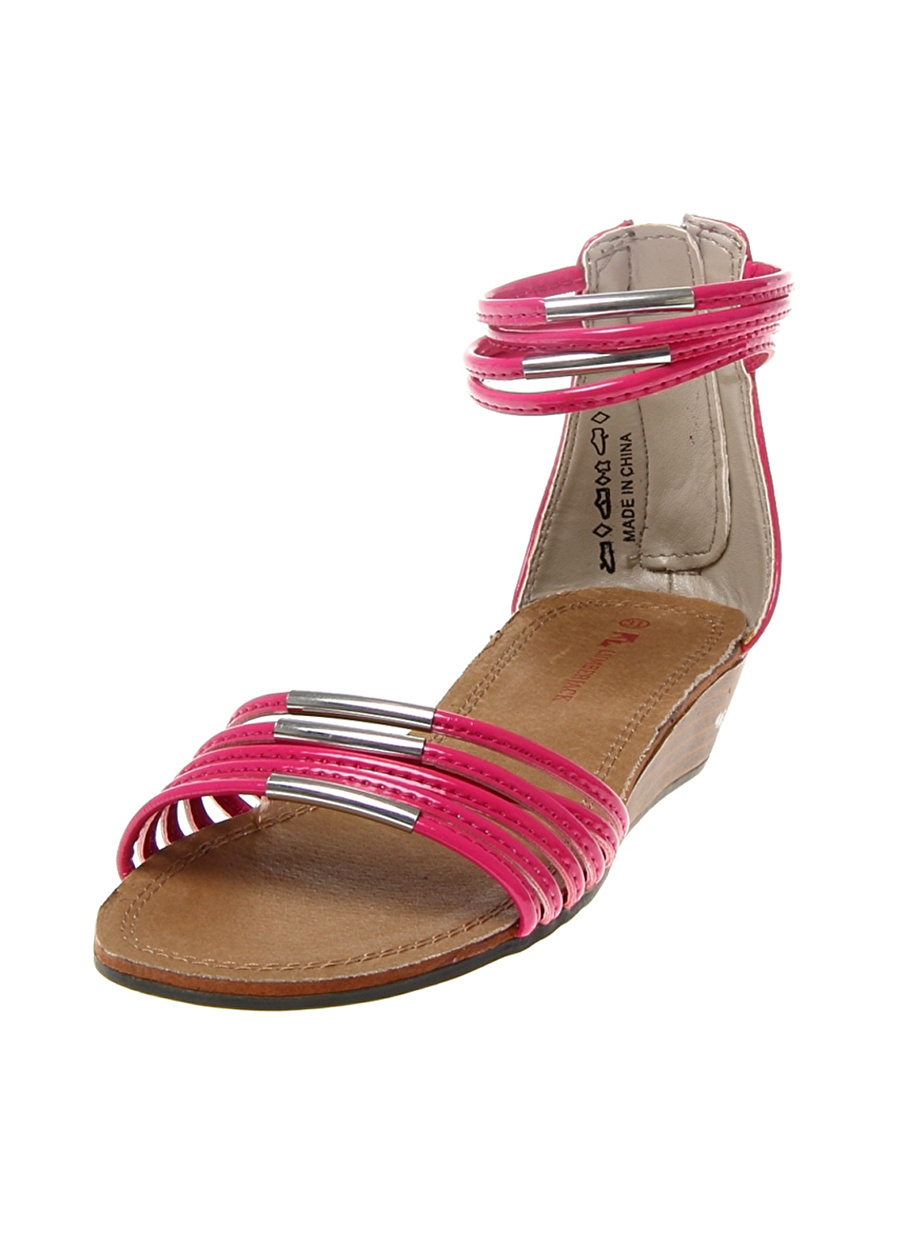 34 Kadın Fuşya Lumberjack Sandalet Çocuk Ayakkabı Terlik