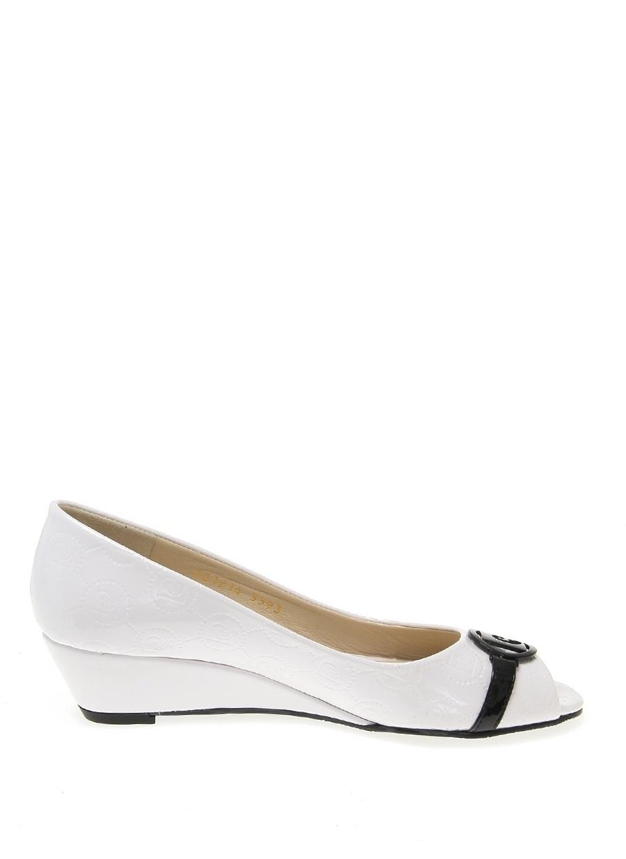 39 Beyaz Pierre Cardin Dolgu Tpklu Ayakkabi Ayakkabı Çanta Kadın Topuk