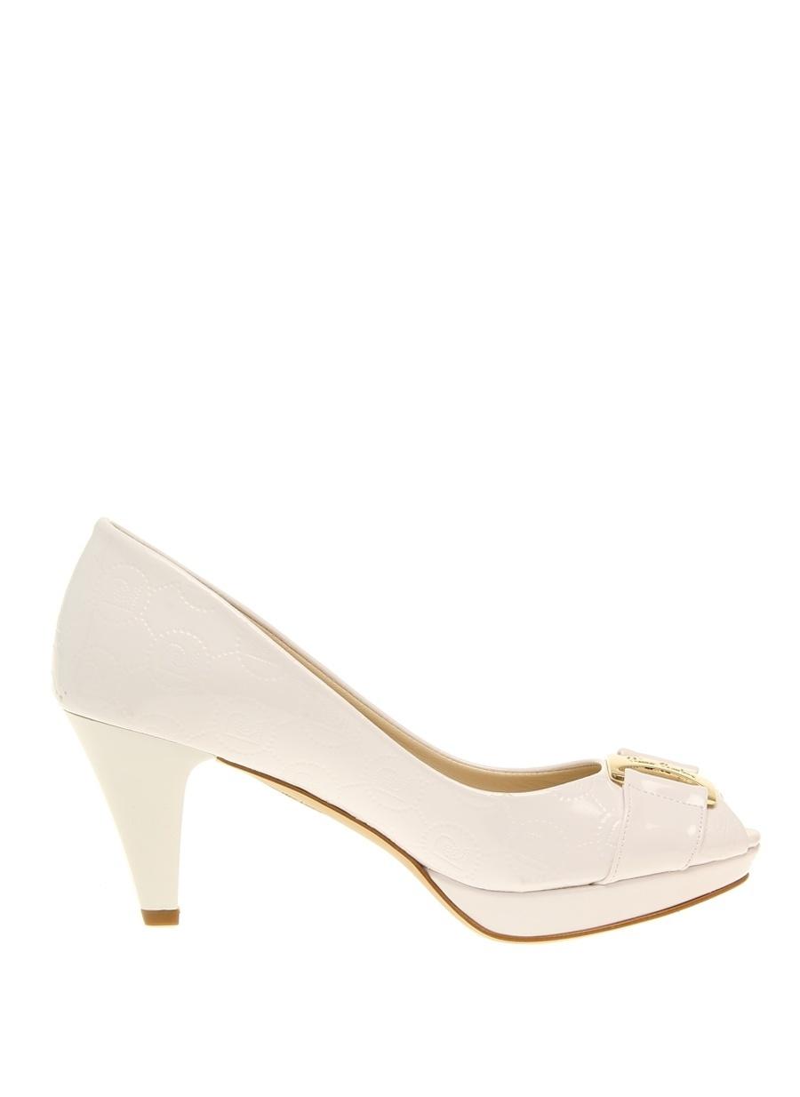 36 Beyaz Pierre Cardin Topuklu Ayakkabı Çanta Kadın
