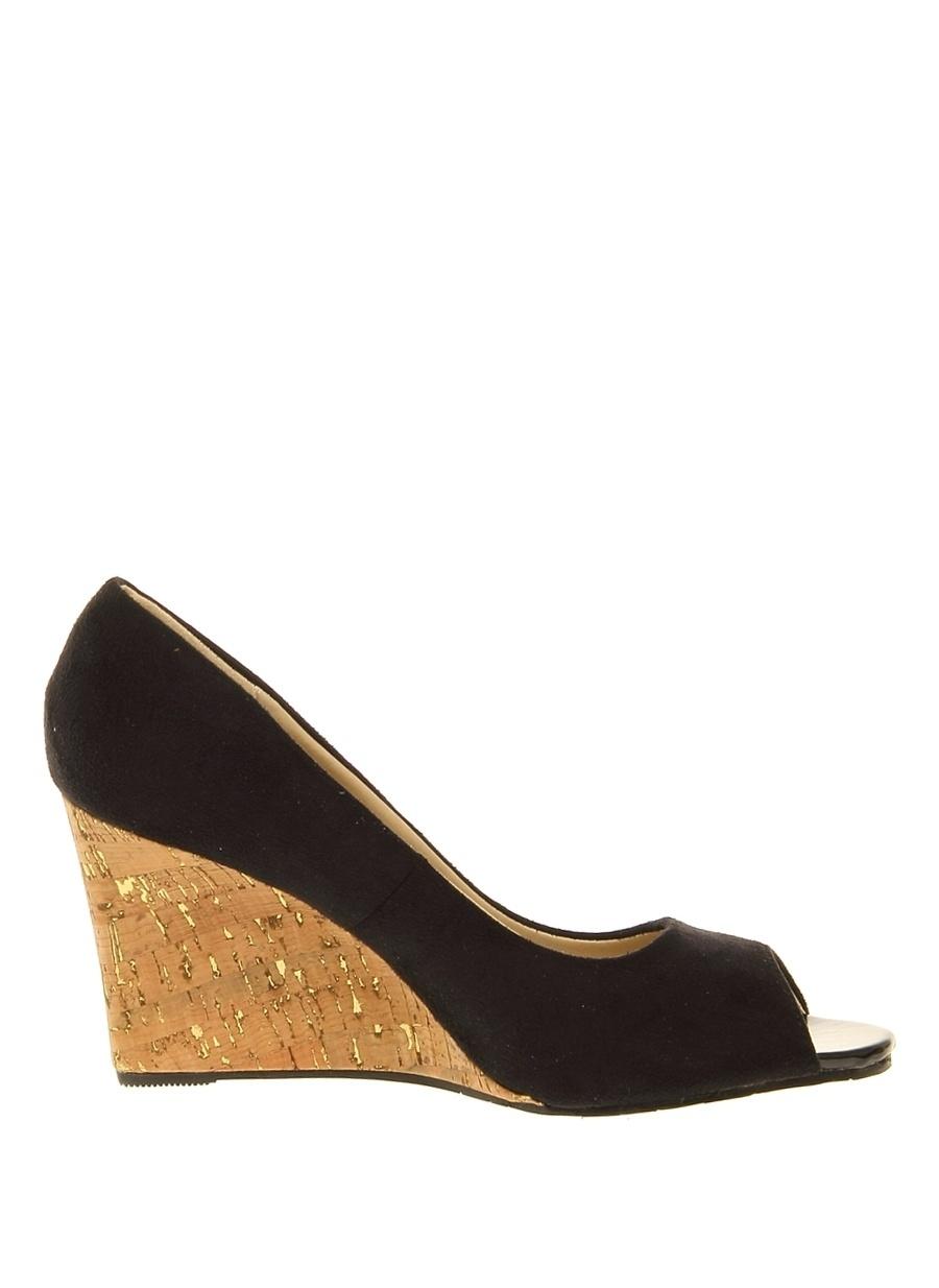 40 Siyah Casa Rossi Dolgu Tpklu Ayakkabi Ayakkabı Çanta Kadın Topuk