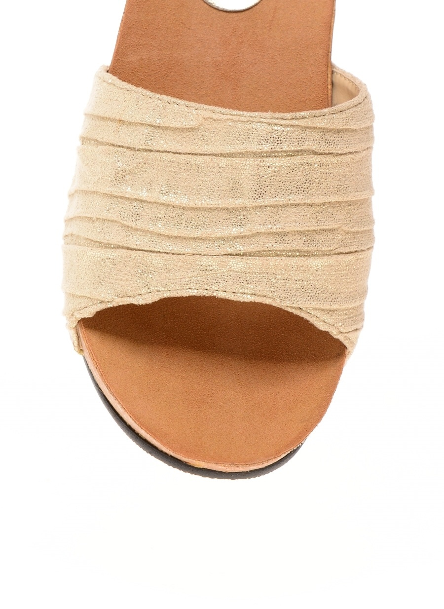 38 Dore Casa Rossi Gold Terlik Ayakkabı Çanta Kadın Sandalet