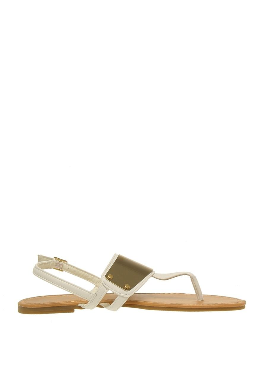 39 Beyaz Casa Rossi Sandalet Ayakkabı Çanta Kadın Terlik