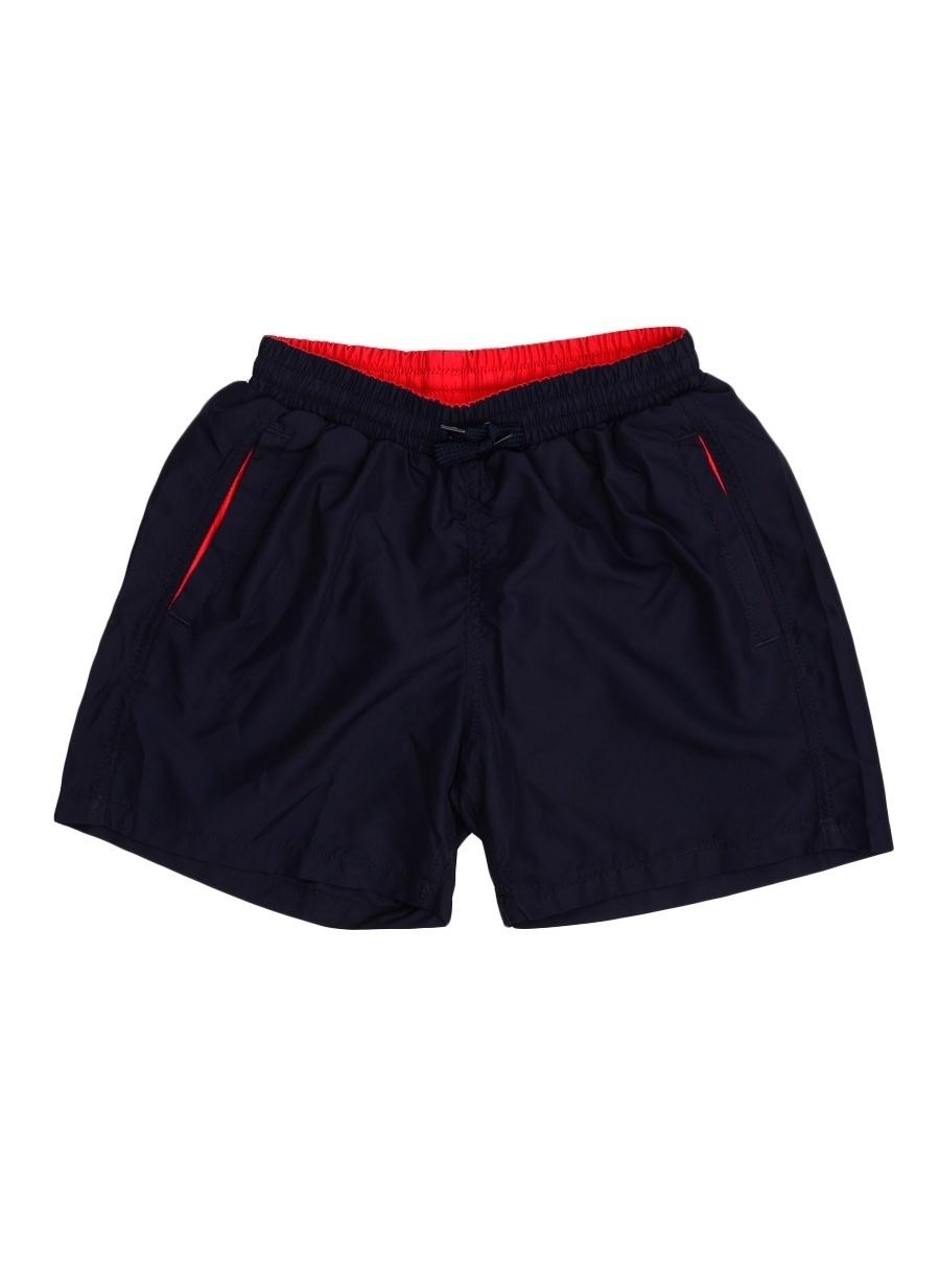 4 Yaş Kadın Koyu Lacivert T-Box Şort Mayo Çocuk Plaj Giyim