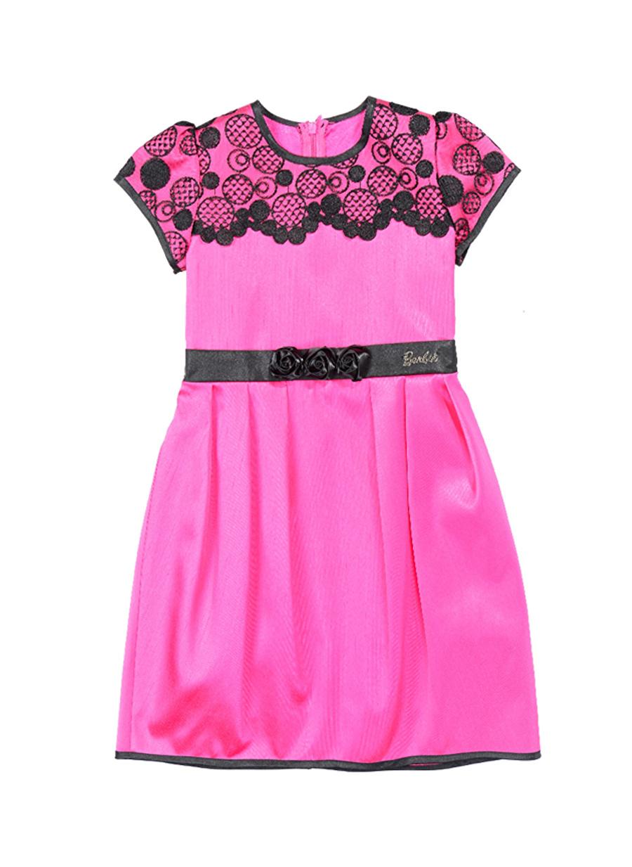 7 Yaş Kadın Fuşya Barbie Dantelli Pembe - Siyah Çocuk Elbise Giyim Tunik