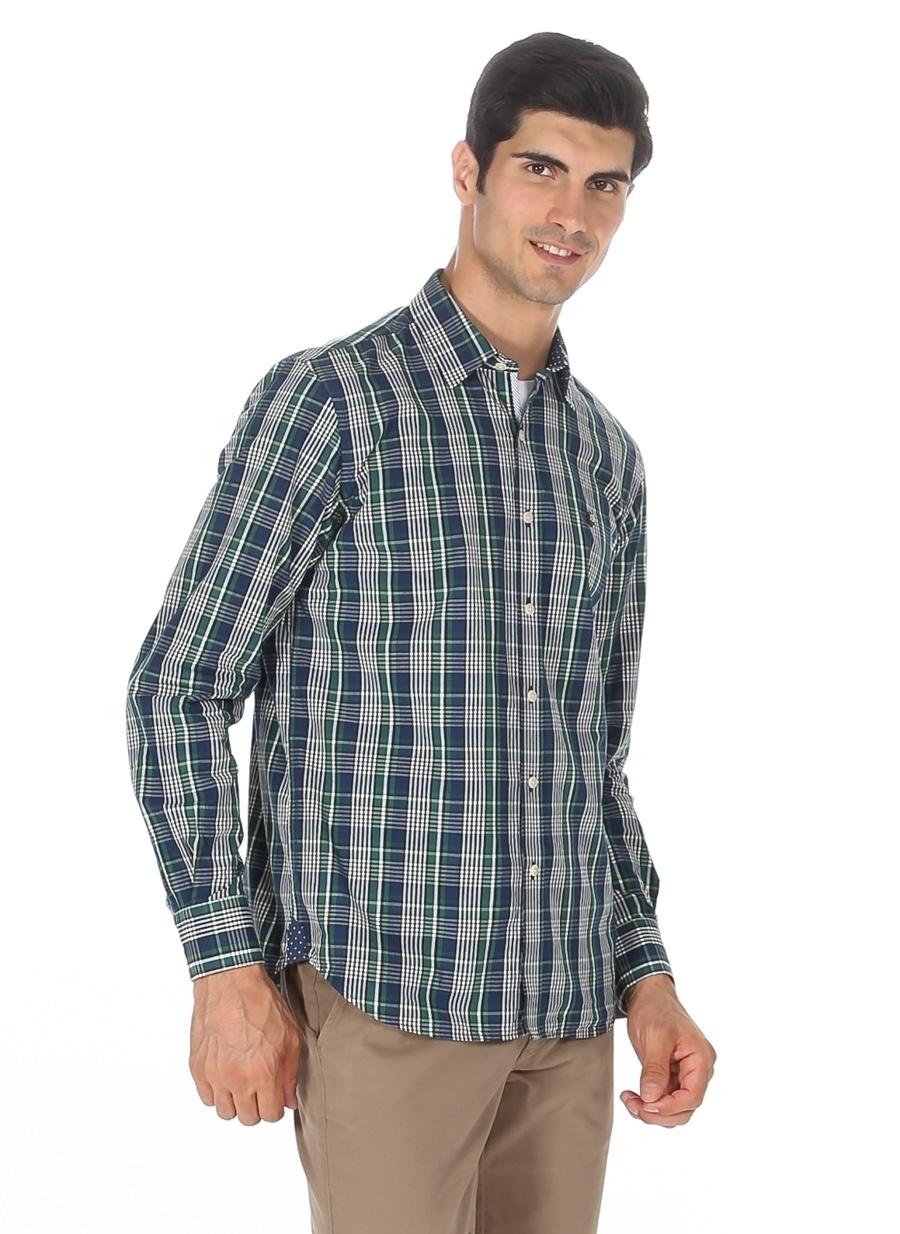 S Nefti Limon Ekoseli Gömlek Erkek Giyim