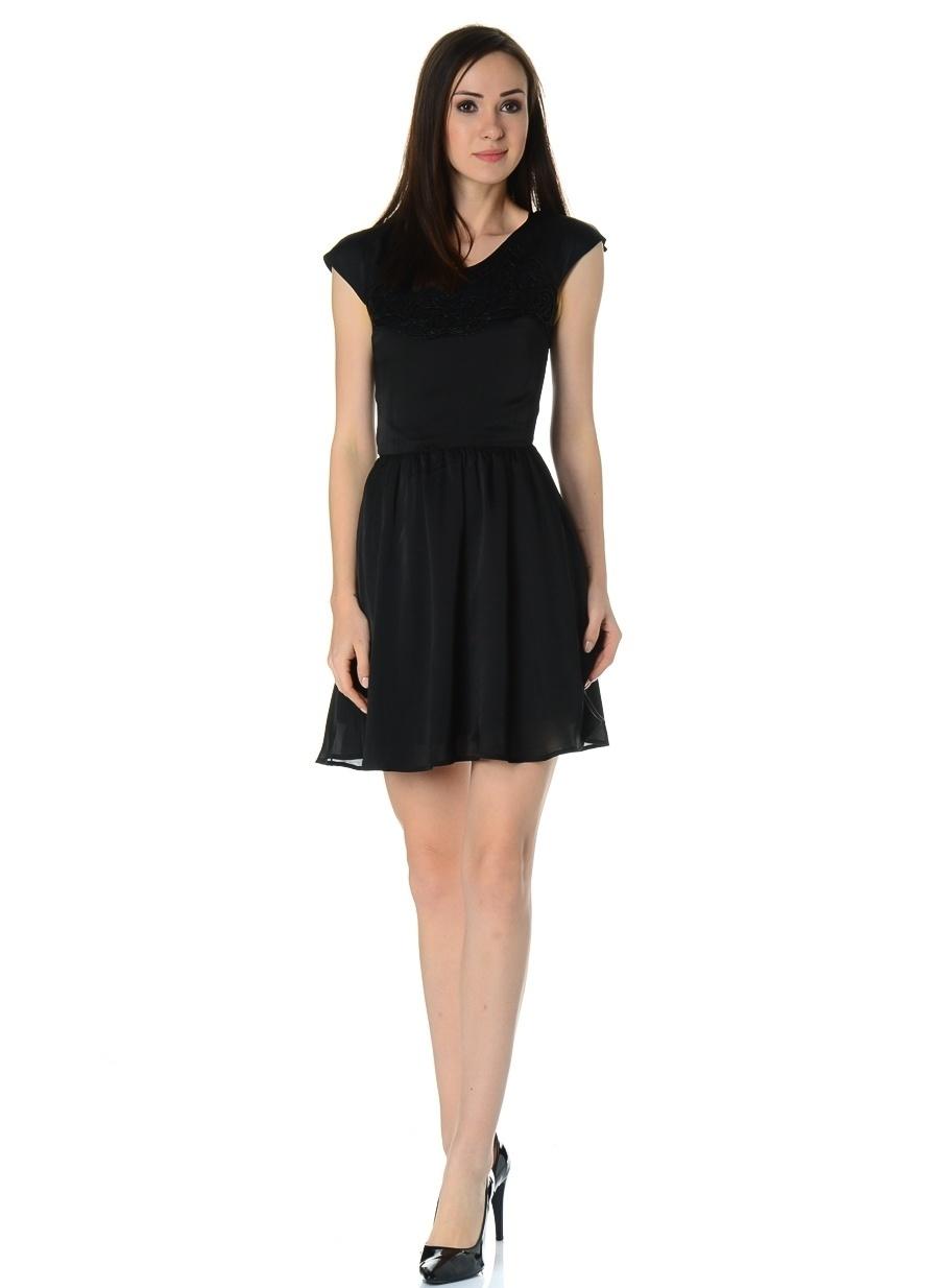 38-4 Siyah Morgan Elbise Kadın Giyim
