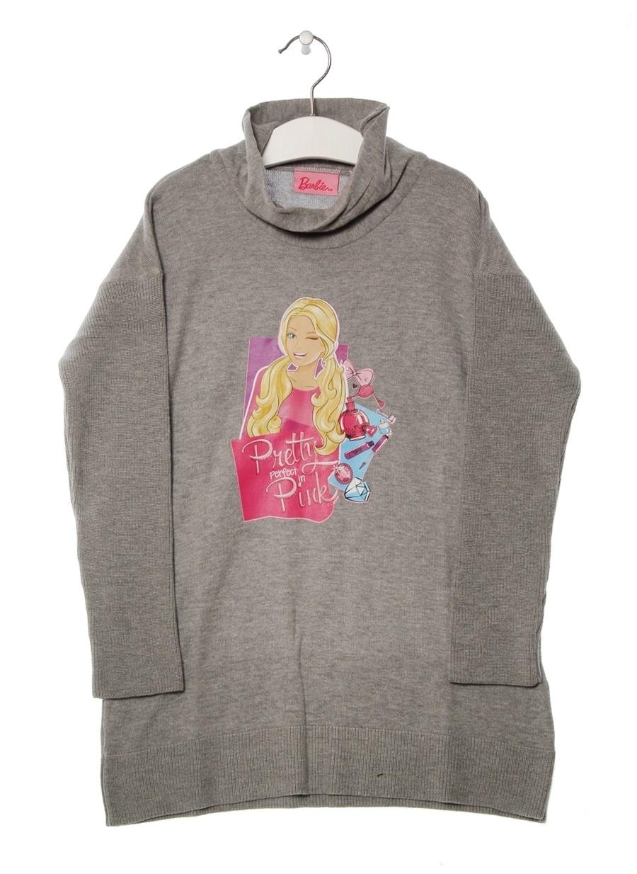 8 Yaş Kadın Füme Melanj Barbie Karakter Baskılı Gri Çocuk Elbise Lisanslı Ürünler