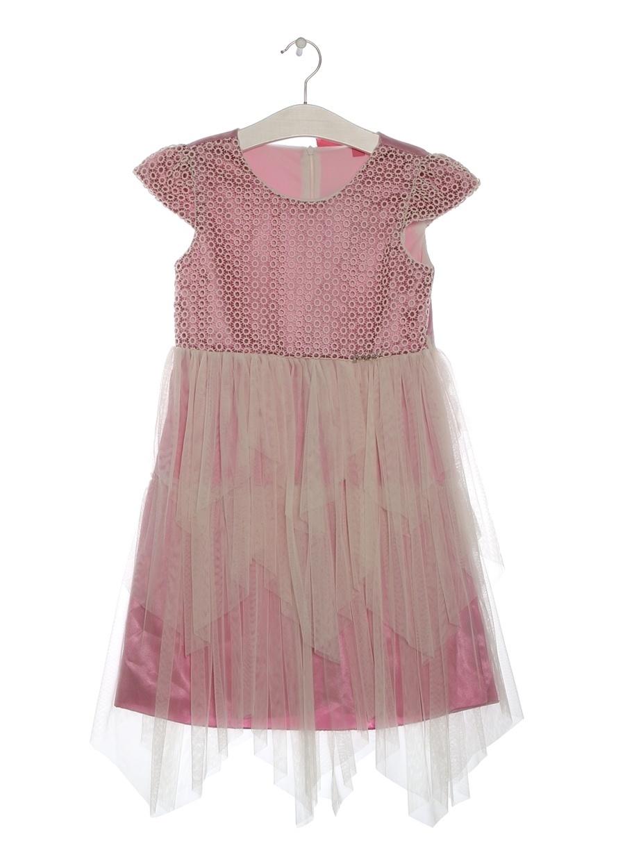 6 Yaş Kadın Mor Barbie Pileli Pembe Çocuk Elbise Giyim Tunik