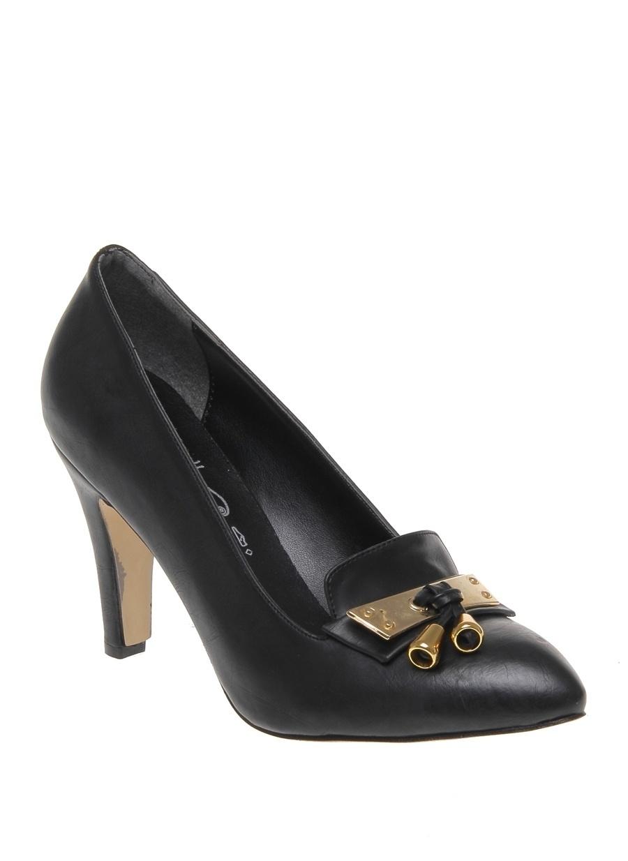 39 Siyah Punto Kadın Topuklu Ayakkabı Çanta