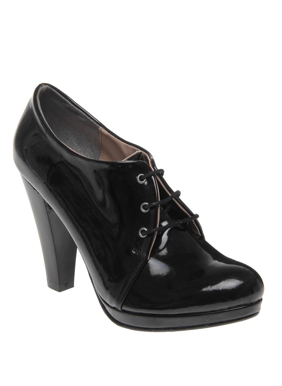 37 Siyah Punto Rugan Bağcıklı Topuklu Ayakkabı Çanta Kadın