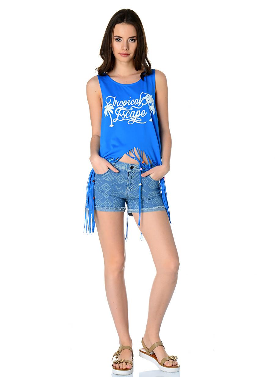 26 Koyu İndigo T-Box Kot Şort Kadın Giyim Kapri