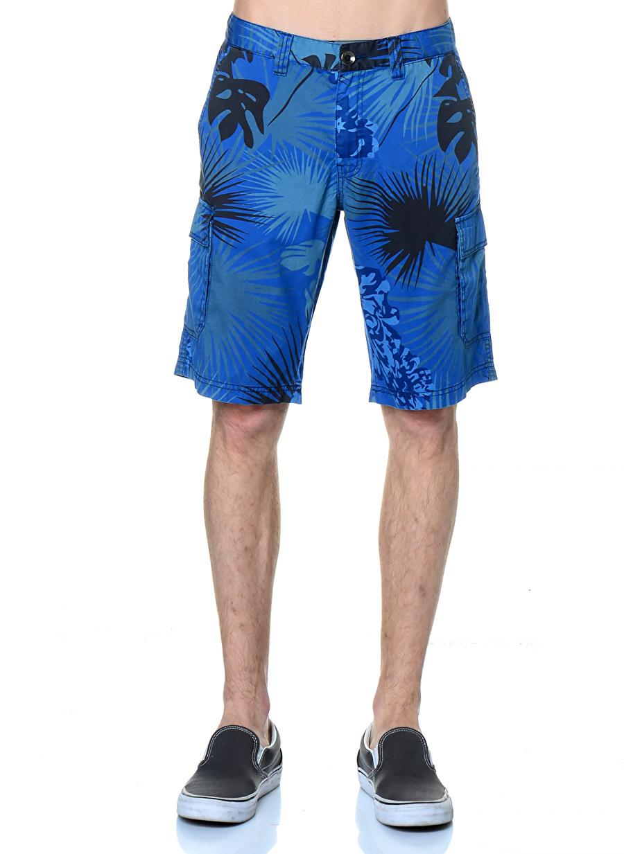 48 Koyu Lacivert T-Box PL Baskılı Kargo Şort Erkek Spor Giyim