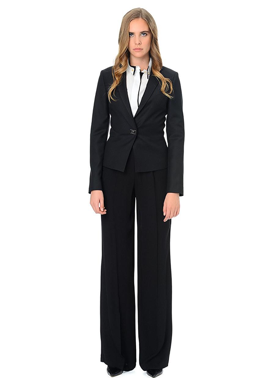 36 Siyah Fabrika Tek Düğmeli Ceket Kadın Giyim Yelek