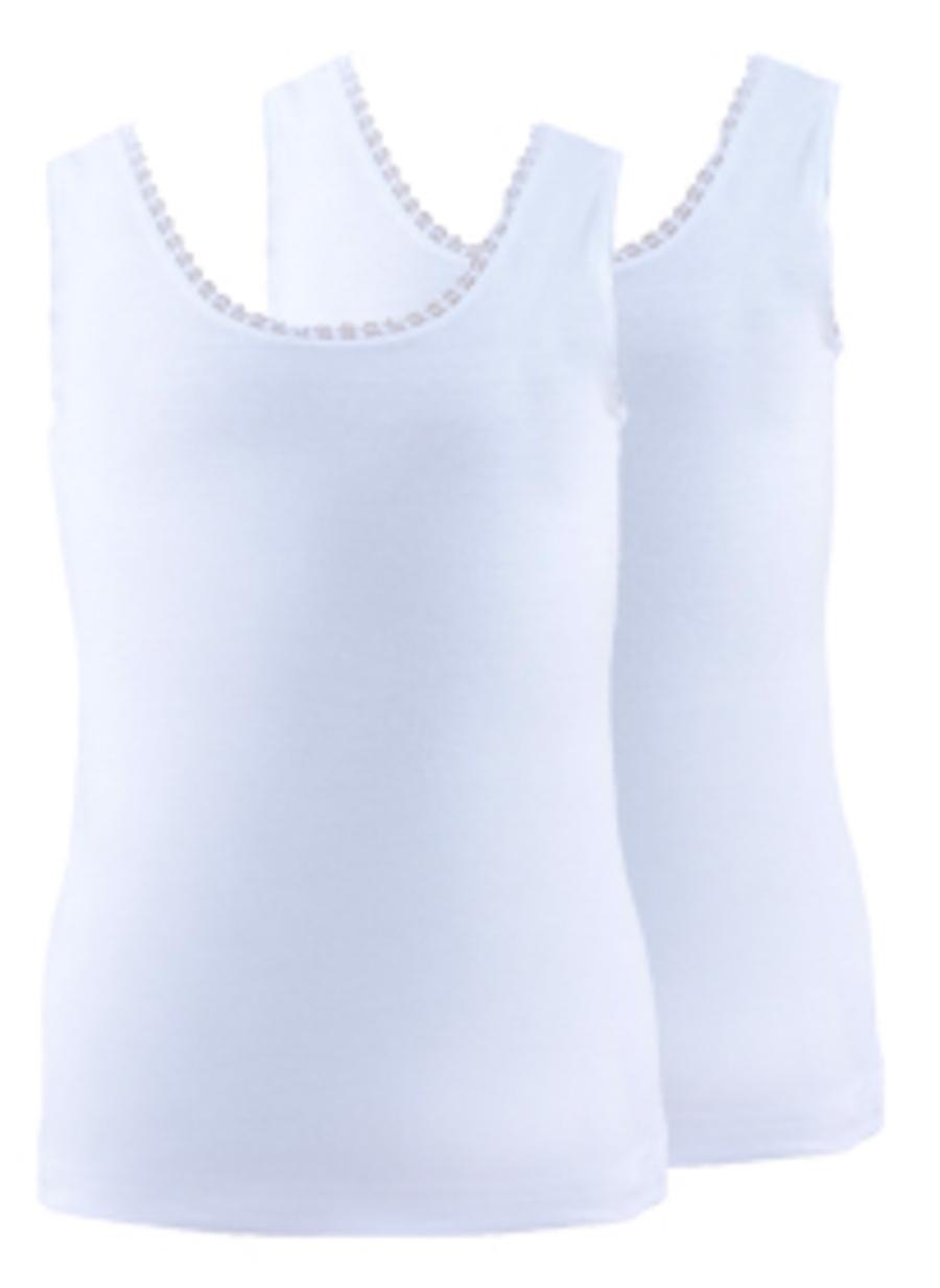 104 cm Kadın Beyaz Blackspade 2\'li Kız Çocuk İç Giyim Atlet Ev Fanila