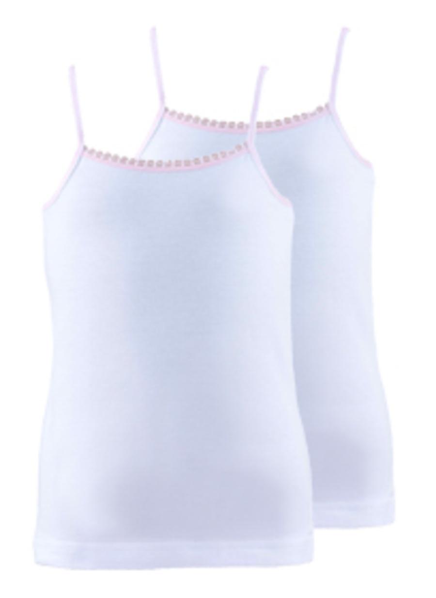 128 cm Kadın Beyaz Blackspade 2\'li Kız Çocuk İç Giyim Atlet Ev Fanila