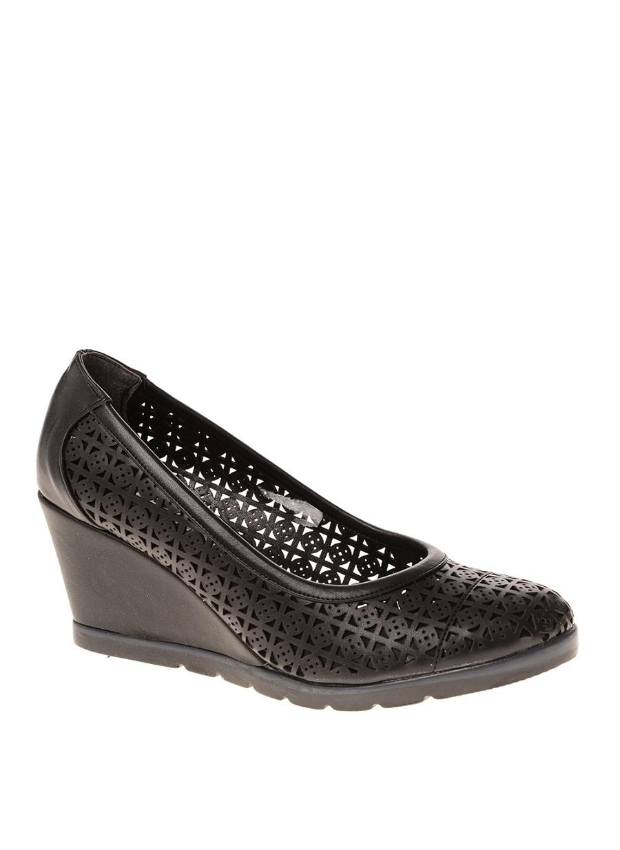 38 Siyah Punto Dolgu Tpklu Ayakkabi Ayakkabı Çanta Kadın Topuk