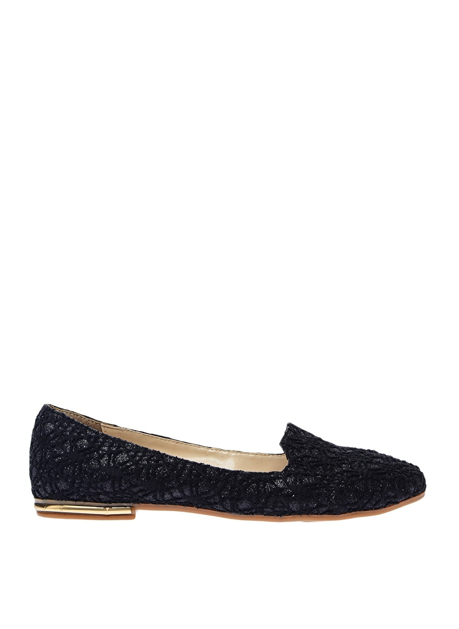 36 Siyah Punto Topuk Detaylı Babet Ayakkabı Çanta Kadın