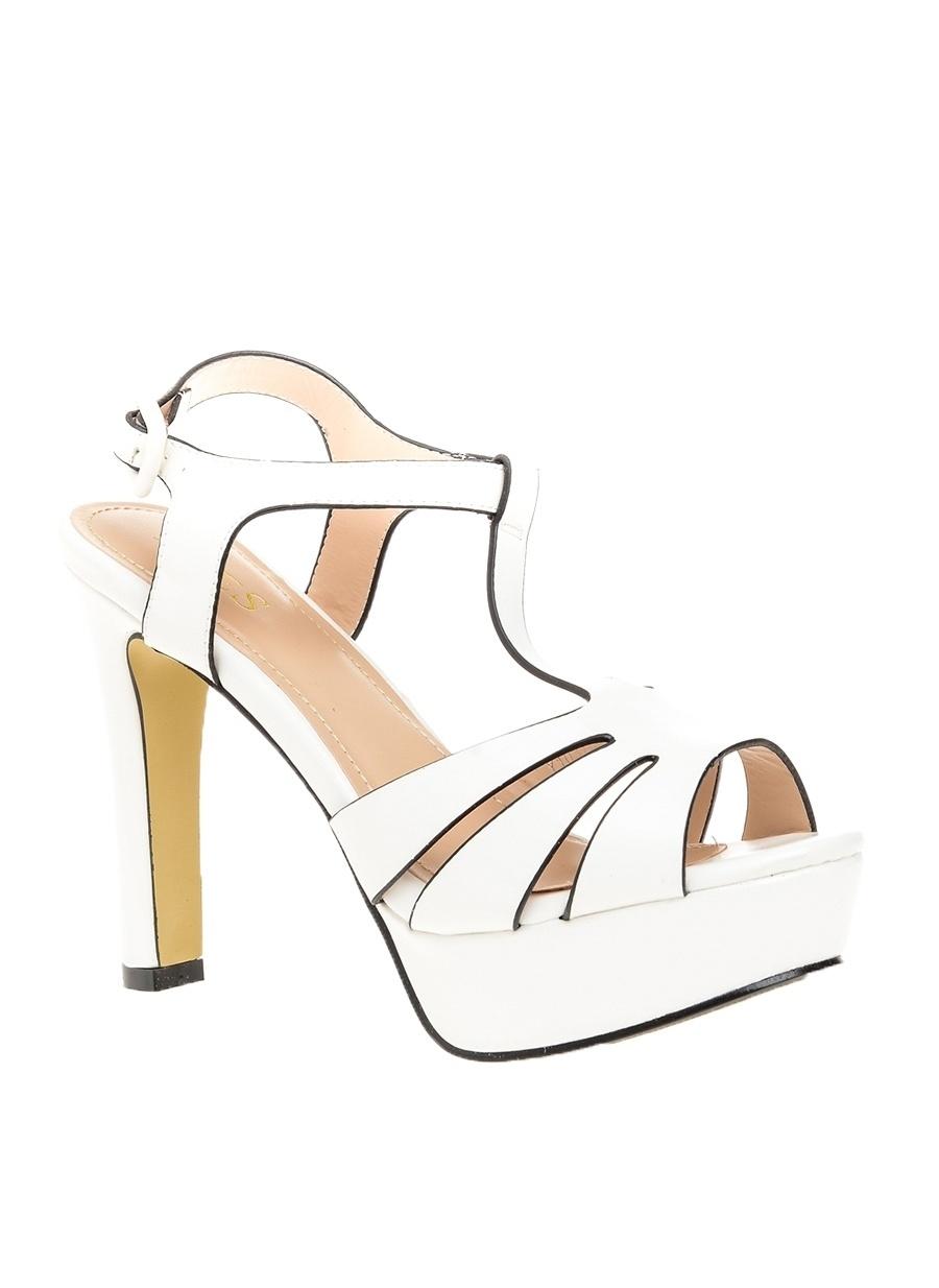 38 Beyaz Yees Topuklu Ayakkabı Çanta Kadın