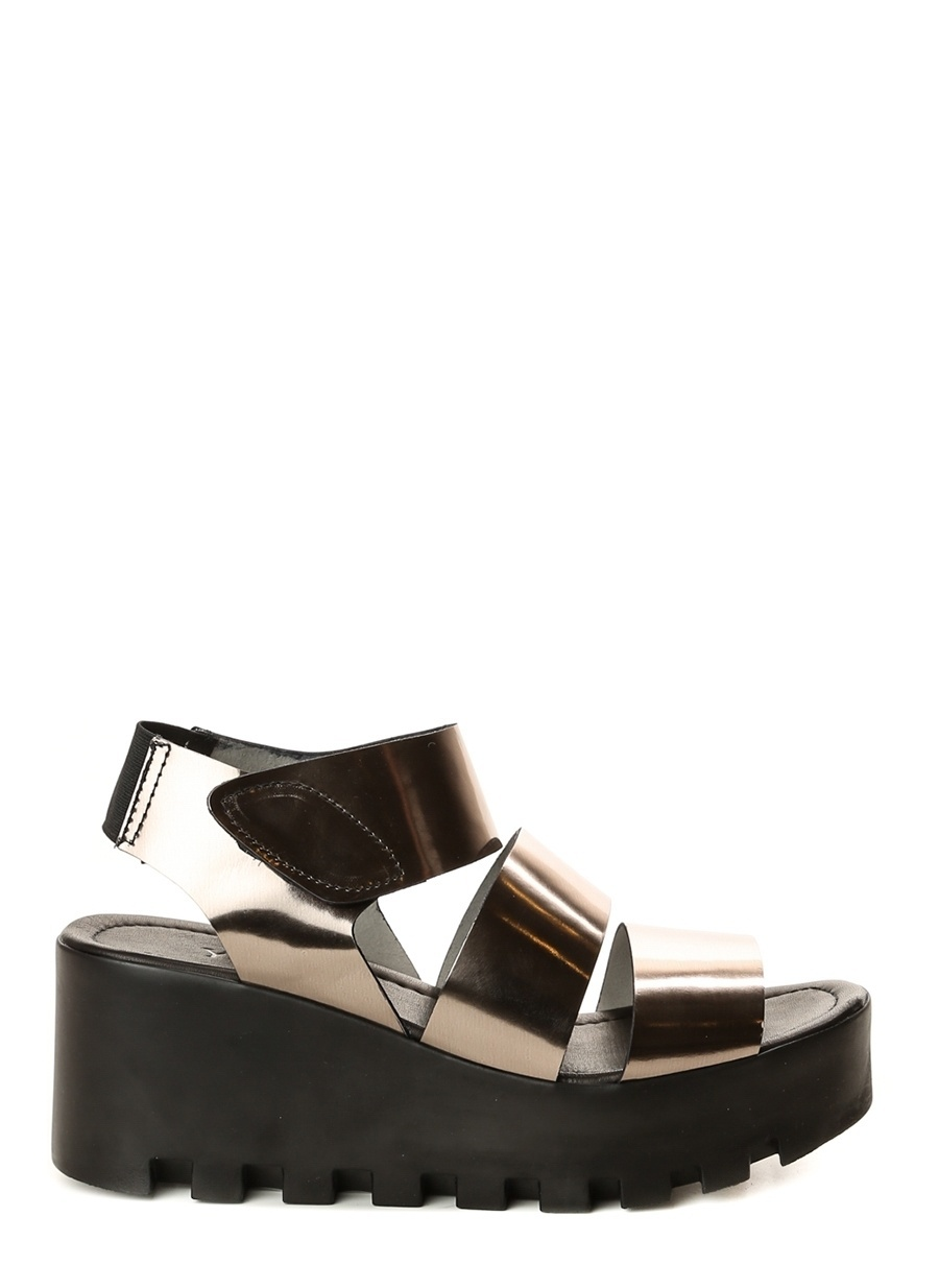 38 Dore Yees Gold Sandalet Ayakkabı Çanta Kadın Terlik