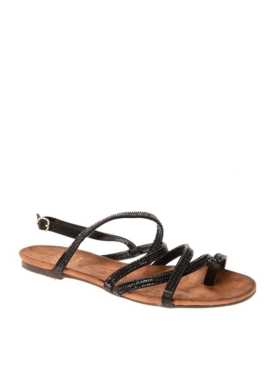 40 Siyah Dsn Sandalet Ayakkabı Çanta Kadın Terlik