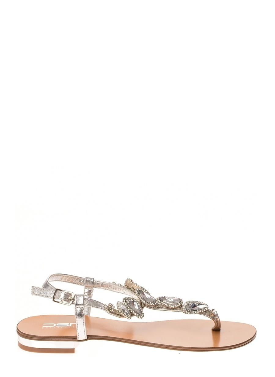 37 Gümüş Dsn Sandalet Ayakkabı Çanta Kadın Terlik