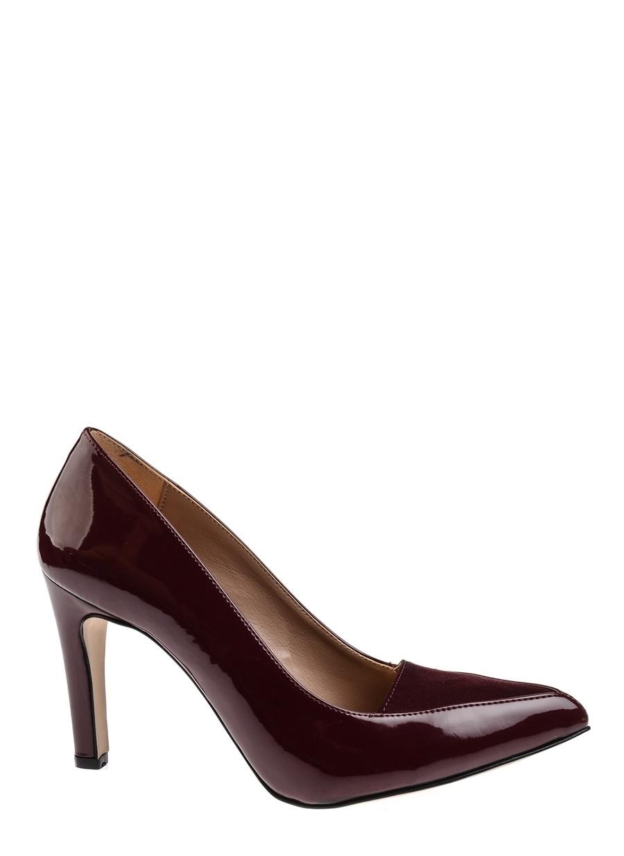 39 Şarap Queen Bee Bordo Topuklu Ayakkabı Çanta Kadın