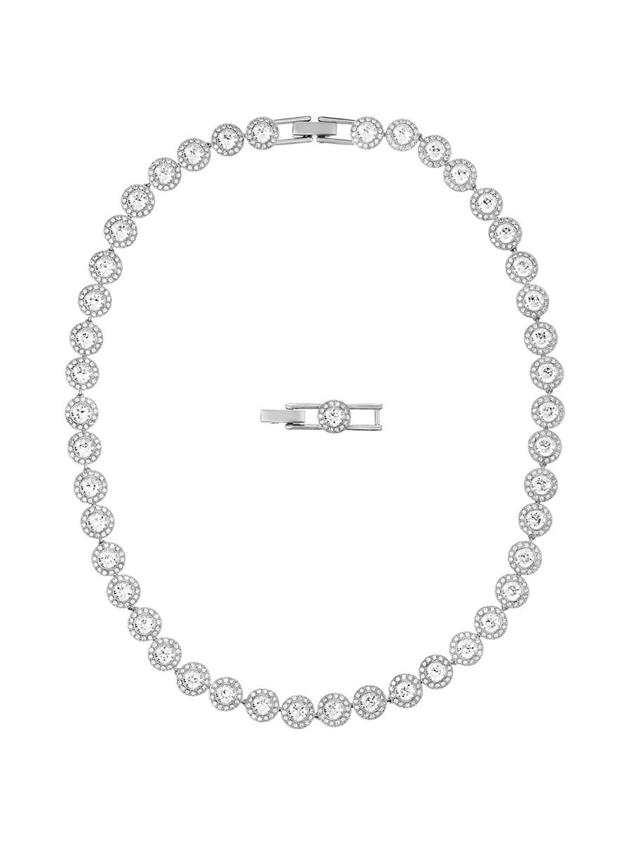 Standart Renksiz Swarovski 5117703 Angelic Beyaz Rodyum Kaplama Kolye Kadın Aksesuar Takı