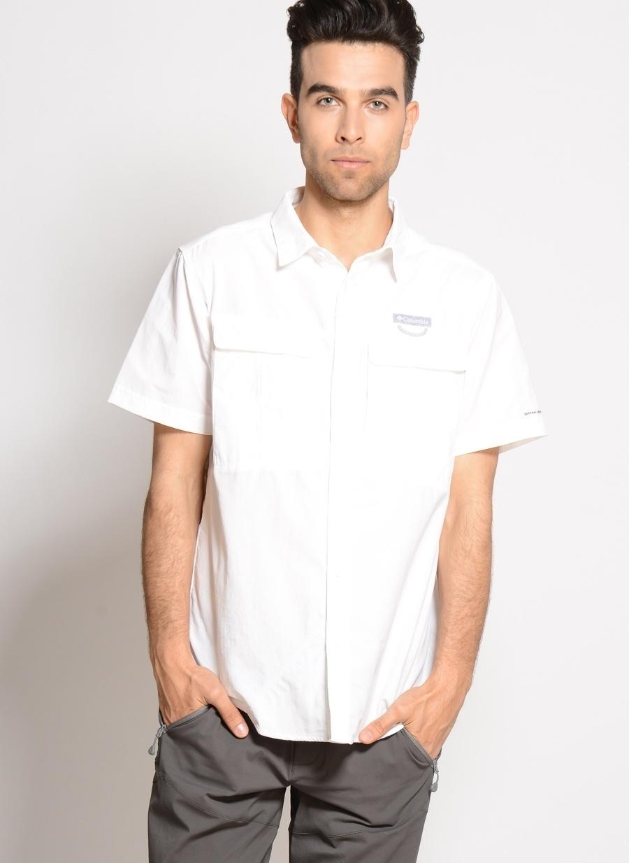 M Erkek Beyaz Columbia Am9156 Cascades Explorer Short Sleeve Shirt Gömlek Spor Outdoor Ürünler Ürünleri