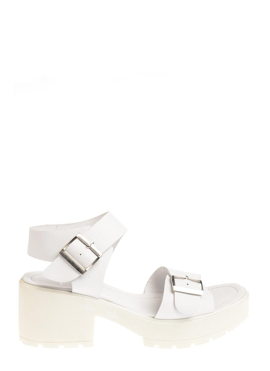 38 Beyaz Yees Sandalet Ayakkabı Çanta Kadın Terlik