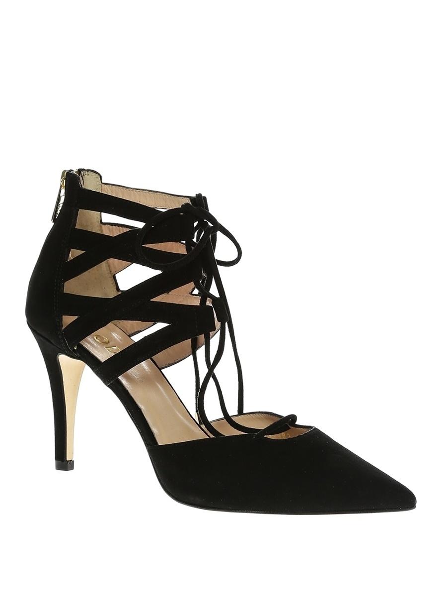 40 Siyah Lodi Topuklu Ayakkabı Çanta Kadın