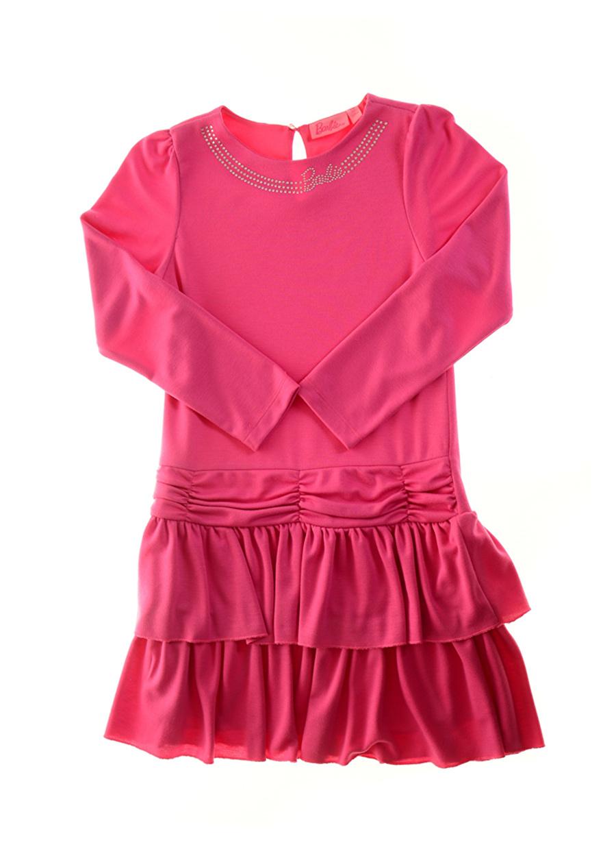 10 Yaş Kadın Fuşya Barbie Fırfırlı Pembe Çocuk Elbise Lisanslı Ürünler