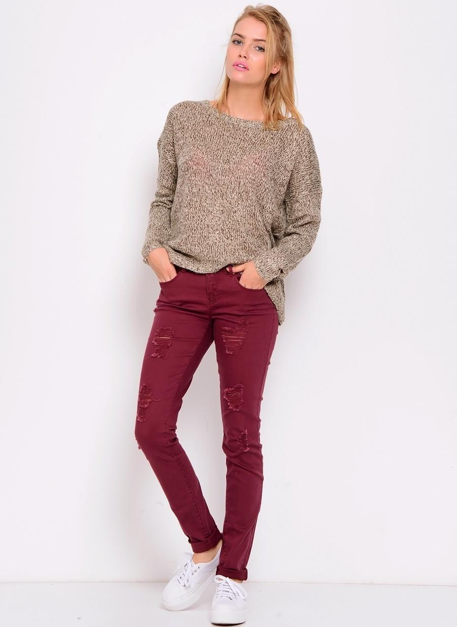 26-32 Koyu Kırmızı Only Bordo Denim Pantolon Kadın Giyim Jean