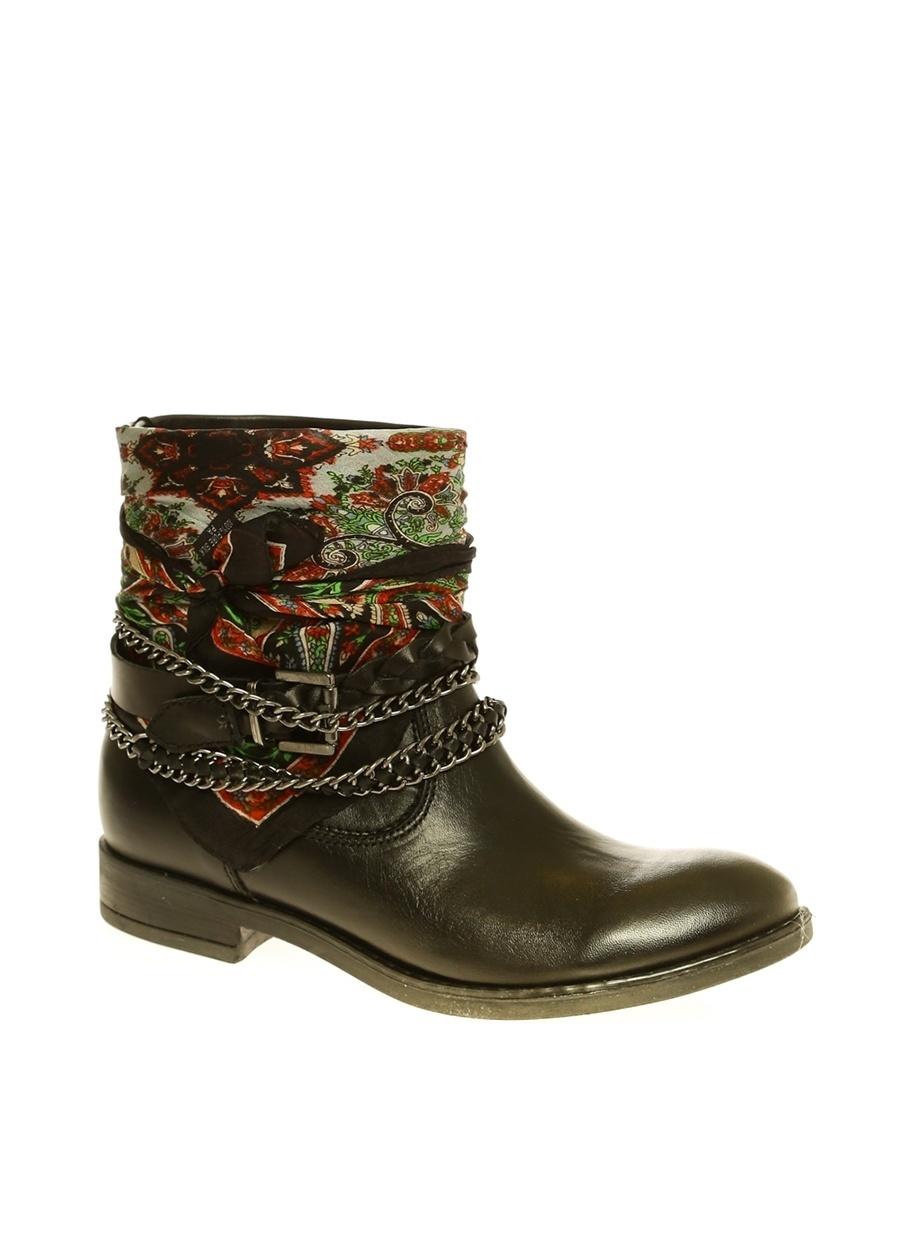 39 Siyah İnci Zincir Detaylı Bot Ayakkabı Çanta Kadın Çizme