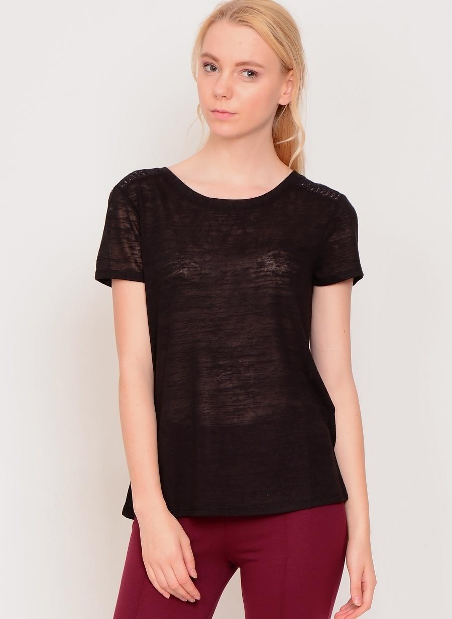 L Siyah Koton T-Shirt Kadın Giyim T-shirt Atlet