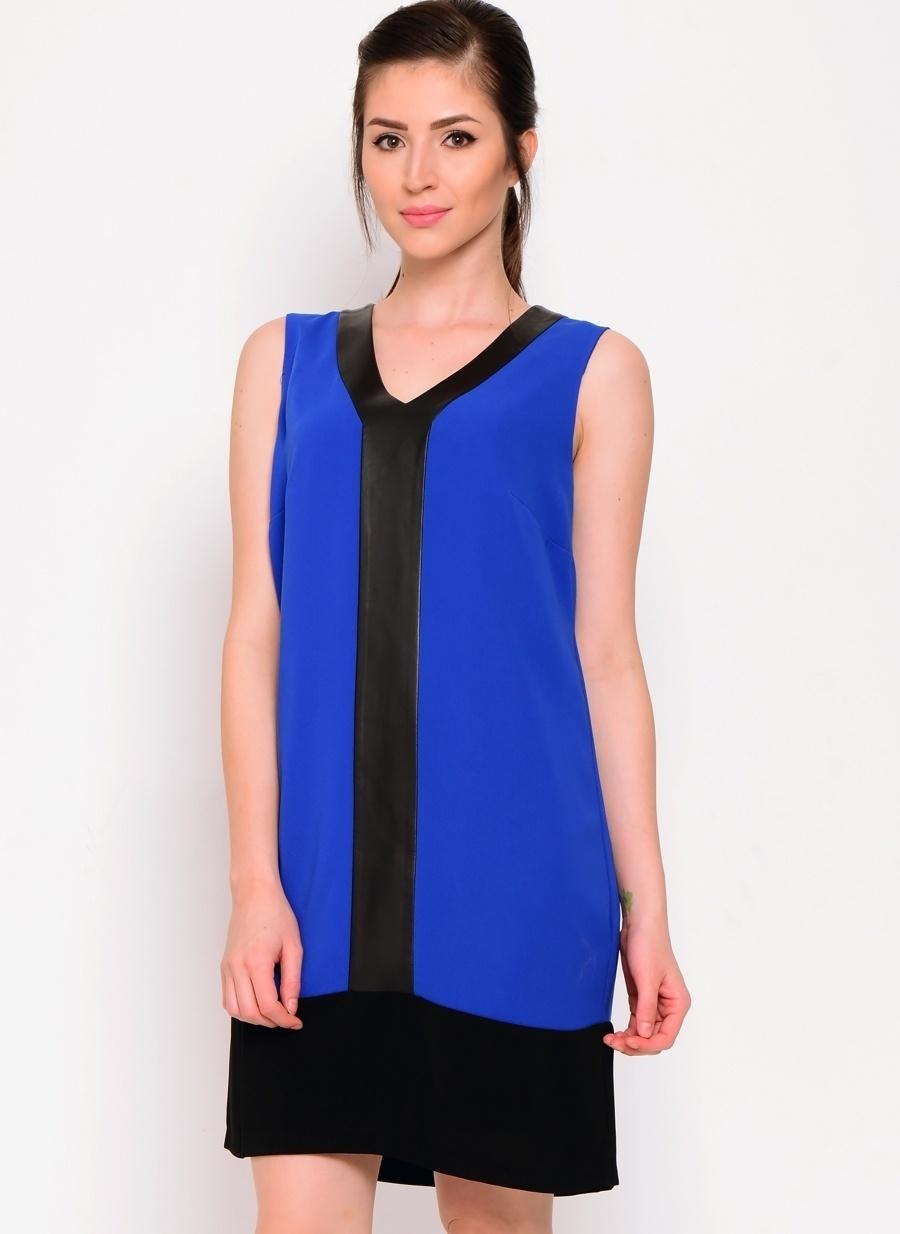 34 Saks Koton Deri Detaylı Mavi Elbise Kadın Giyim