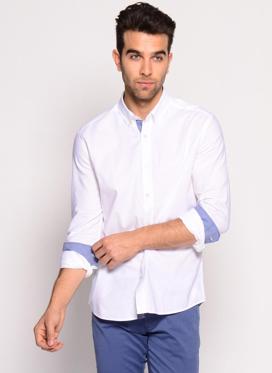 XL Koyu Beyaz Nautica Bright White Gömlek Erkek Giyim