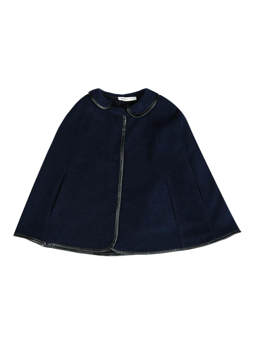 6 Yaş Kadın Mavi Koton Lacivert Panço Çocuk Dış Giyim Trençkot Yağmurluk