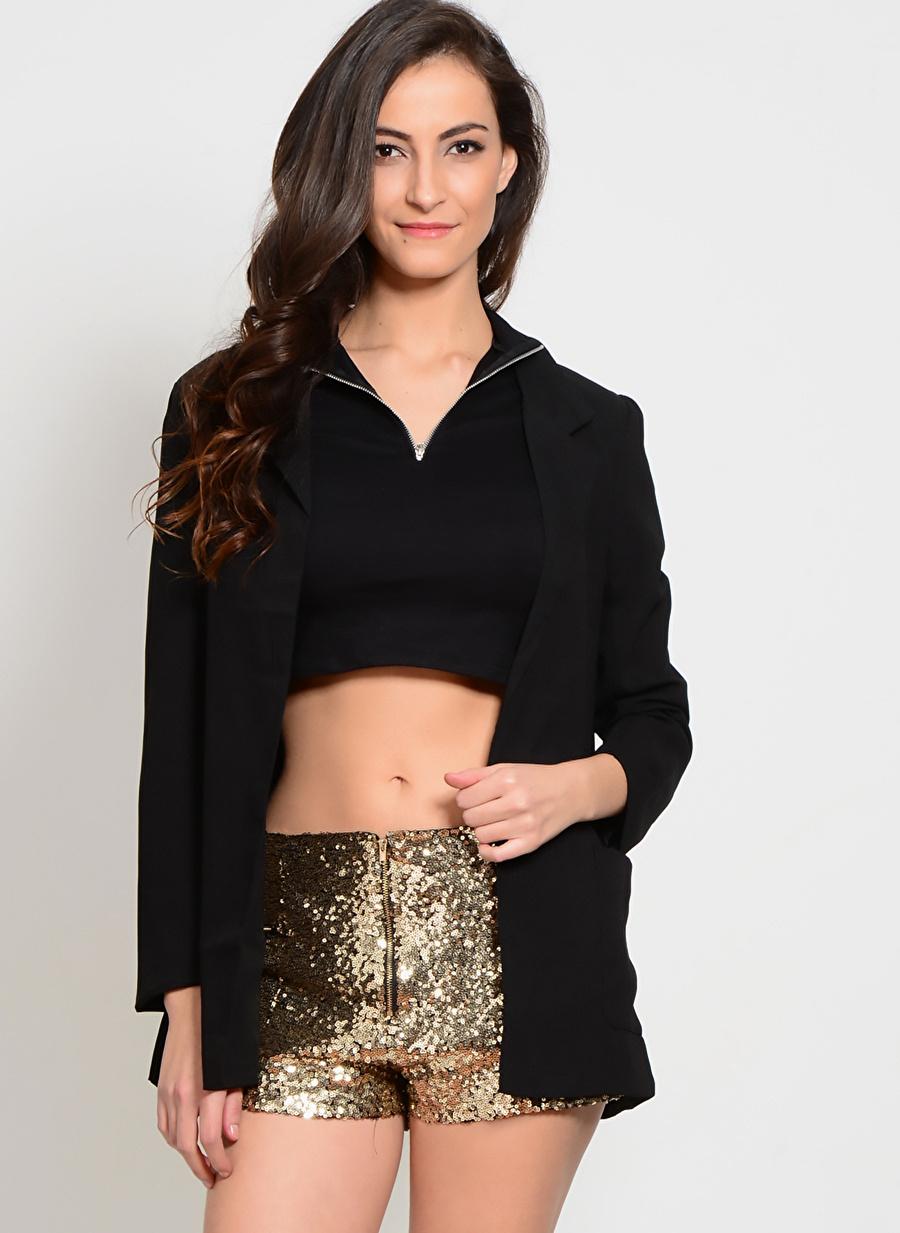 L Siyah Compania Fantastica Kazak Kadın Giyim Hırka